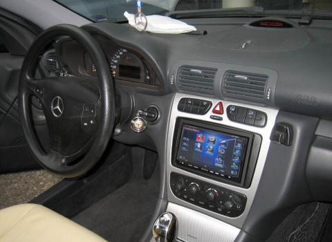 Mercedes C200 Sports Coupe (W203). Car Cinema Navigation Kenwood DNX7200.